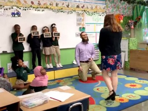 Students hold 'will you marry me signs?' when teacher's partner surprises her with a proposal in the classroom