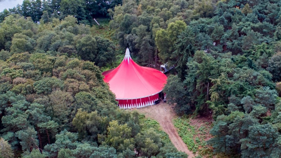 Picture supplied by Bav Media 07976 880732. Picture dated September 8th shows the Big Top Circus tent at Henham Park in Suffolk where Ed Sheeran held a secret party on Saturday night to celebrate his marriage to Cherry Seaborn. Contractors were spotted coming and going today (Sun) after Ed Sheeran held a festival-themed party last night to celebrate his marriage to Cherry Seaborn. Vans were seen driving in and out of Henham Park in Suffolk this morning after the secret event was held in a large red Big Top circus tent. Hundreds of friends, including James Blunt, singer Taylor Swift and rapper Stormzy, were invited to the celebration, which saw live bands and DJs perform until the early hours. The grounds are around 20 miles from Sheeran???s house in Framlingham and are normally used for the annual Lattitude music festival. SEE Copy CATCHLINE Contractors clear up after Sheeran wedding party