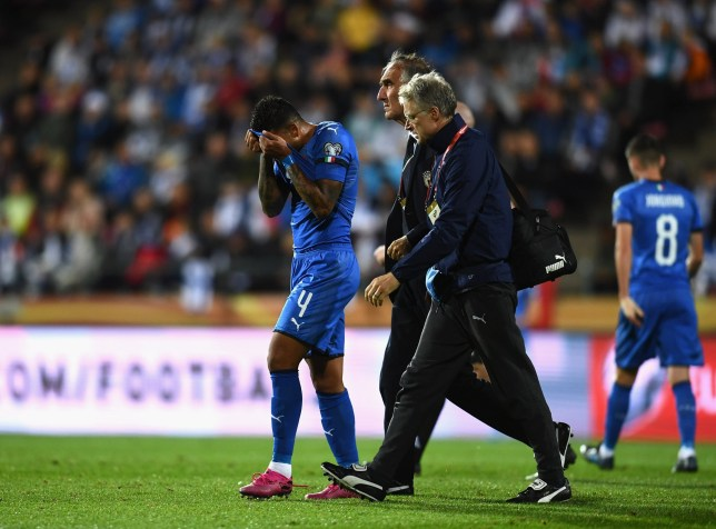 Chelsea star Emerson hobbled off during Italy's victory over Finland