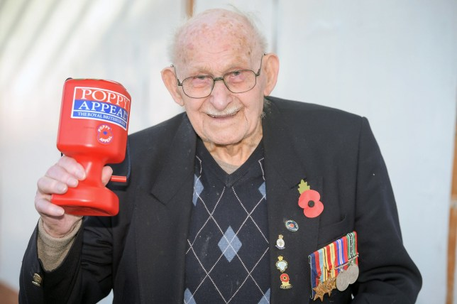 Embargoed to 0001 Monday October 30 Poppy seller Ron Jones, who is 100 years old, holds his collection box outside a Tesco supermarket in Newport.