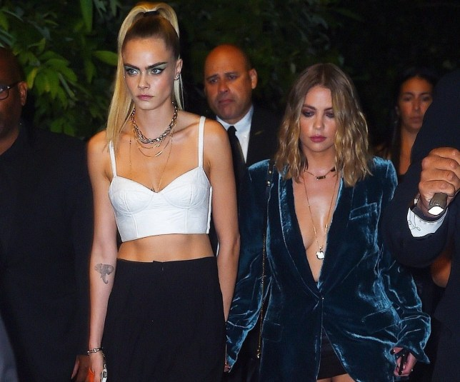 Cara Delevingne and girlfriend Ashley Benson at New York Fashion Week