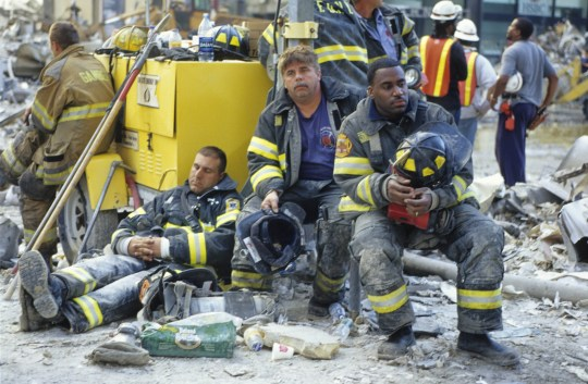 firefighters at gound zero on september 11