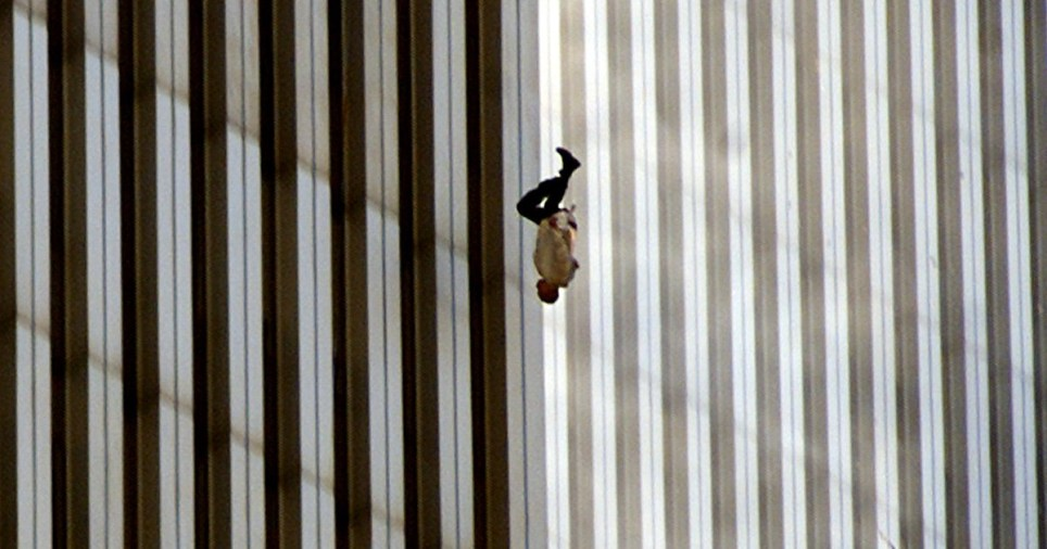 THE FALLING MAN - A person falls from the north tower of New York's World Trade Center in this Sept. 11, 2001, file photo, after terrorists crashed two hijacked airliners into the World Trade Center and brought down the twin 110-story towers. This year will mark the fifth anniversary of the attacks. (AP Photo/Richard Drew/FILE)
