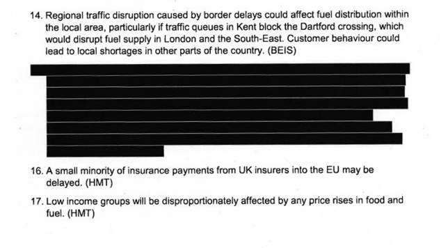 """Screen grab taken from the UK Government website where it's published its Operation Yellowhammer """"reasonable worst case planning assumptions"""" in the event of a no-deal Brexit, in response to MPs voting for it to happen. PA Photo. Issue date: Wednesday September 11, 2019. See PA story POLITICS Brexit. Photo credit should read: UK Government/PA Wire NOTE TO EDITORS: This handout photo may only be used in for editorial reporting purposes for the contemporaneous illustration of events, things or the people in the image or facts mentioned in the caption. Reuse of the picture may require further permission from the copyright holder."""