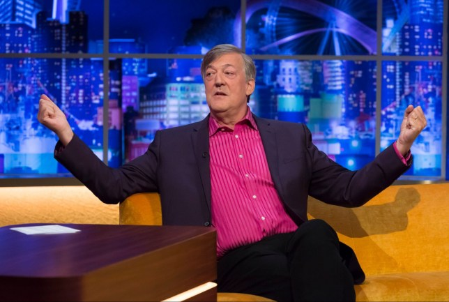 STRICTLY EMBARGOED UNTIL 00.01 ON FRIDAY 13TH SEPTEMBER 2019 Mandatory Credit: Brian J Ritchie/Hotsauce. Editorial Use Only. No Merchandising. Mandatory Credit: Photo by Brian J Ritchie/Hotsauce/REX (10411669ad) Stephen Fry 'The Jonathan Ross Show' TV show, Series 15, Episode 1, London, UK - 14 Sep 2019