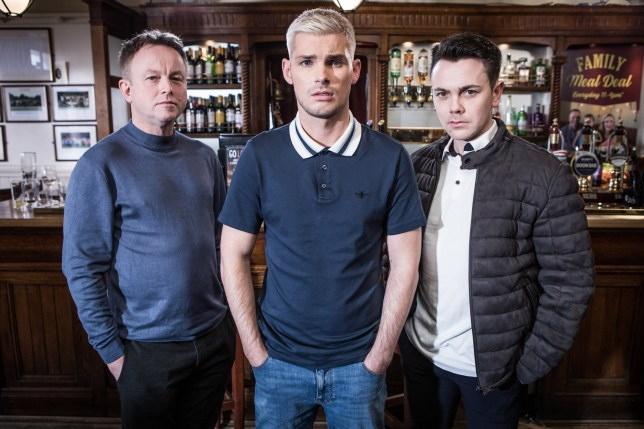 Hollyoaks Ste Hay (Kieron Richardson), Jonny Baxter (Ray Quinn) and Stuart Sumner (Chris Simmons).