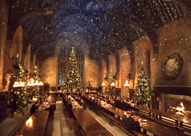 Christmas dinner at the Hogwarts Great Hall.