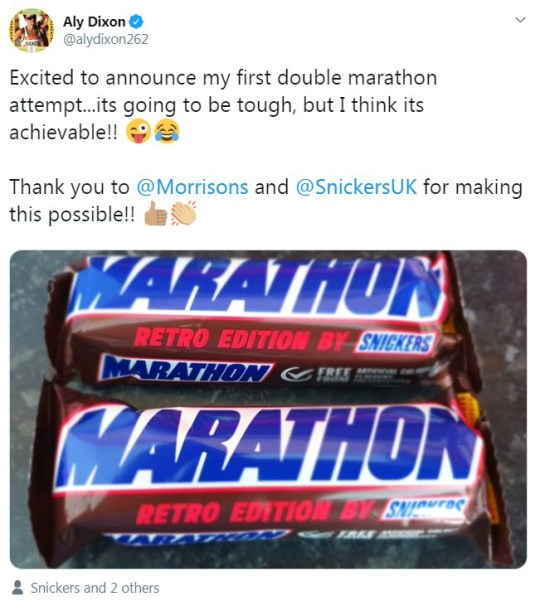A tweet with reaction to Marathon Bars being renamed Snickers