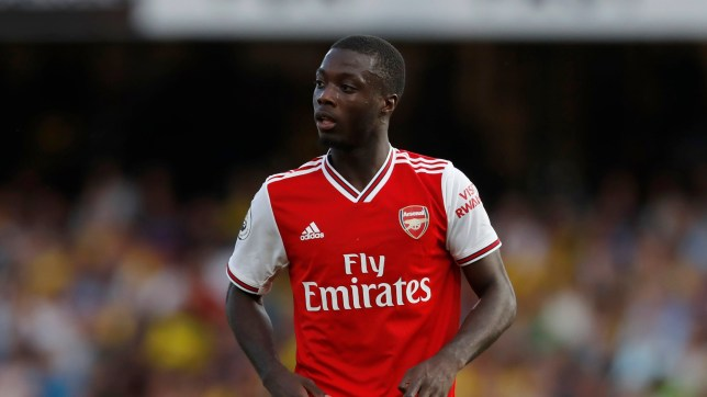 Nicolas Pepe watches on during Arsenal's 2-2 draw against Watford