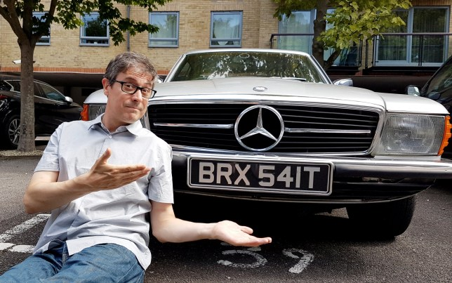 A classic car owner who voted remain has told of his frustration at getting mistaken for a Brexiteer - thanks to his BRX541T number plate. See SWNS story SWTPbrexit. Paul Vinter, 47, said he turns heads wherever he goes in his 1979 Mercedes 450 SLC, but for all the ?wrong reasons?. He bought it in 2016 - before the word became part of daily vocabulary - and he didn't spot the reference when the purchased the ?7,500 car. But it wasn't long before he realised his mistake and said he gets ?scowled at? in the street by people who ?shake their fists? in anger when he drives past. Since Brexit hit the headlines, the passionate remainer claims he?s been called out as a bragging Brexiteer while simply taking his pride and joy for a spin.