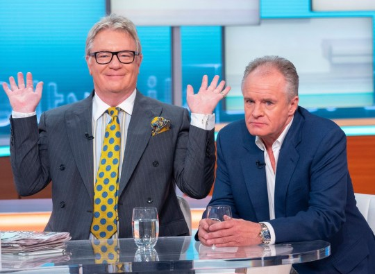 Editorial use only Mandatory Credit: Photo by Ken McKay/ITV/REX (10415928x) Jim Davidson and Bobby Davro 'Good Morning Britain' TV show, London, UK - 17 Sep 2019 JIM DAVIDSON AND BOBBY DAVRO The comedy legends are here for a serious cause, to reveal plans for their annual Care After Combat ball (on 21 September), raising money to help veterans and their families. Jim is a Brexiteer who supports no deal and Bobby didn't vote in the Referendum - but would he given another chance? * DESK: Jim Davidson and Bobby Davro at the desk *Jim Davidson is the CEO of Care After Combat.