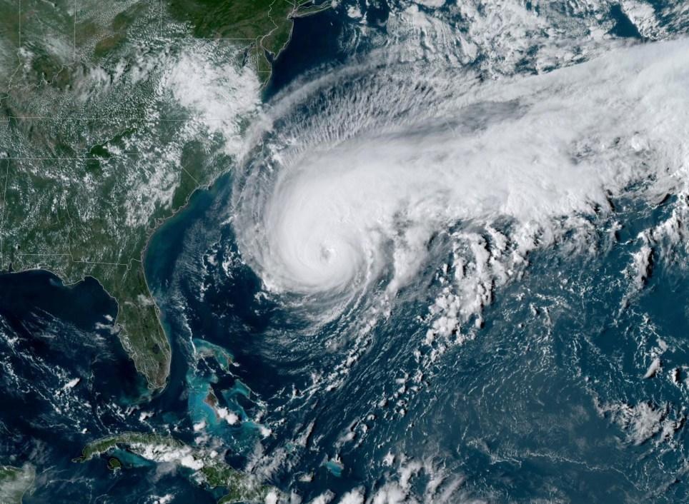 A satellite image of Hurricane Humberto, west of Bermuda