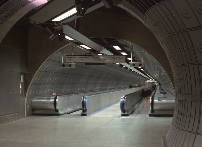 Waterloo Underground Station, Jubilee Line, London, United Kingdom, Architect Jubilee Line Architects, Waterloo Underground Station, Jubilee Line View To Long Travelator. (Photo by View Pictures/Universal Images Group via Getty Images)