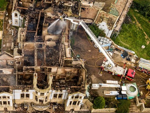 Aerial pictures reveal raging fire completely destroyed Grade II Edwardian mansion