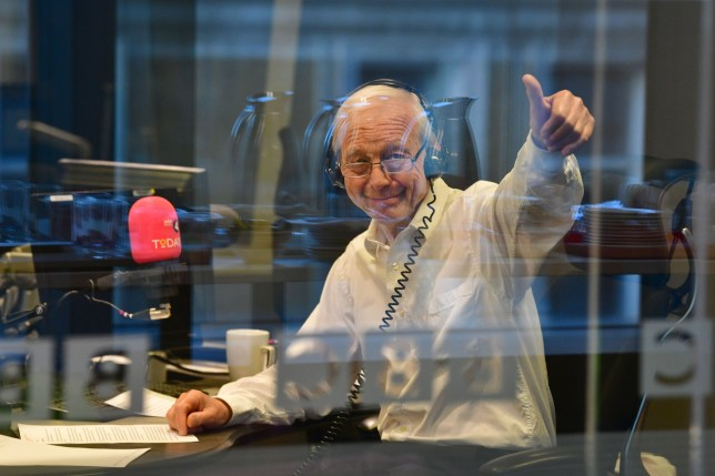 "In a handout picture released by the BBC, Radio 4 presenter John Humphrys hosts his final show on the Today programme in London on September 19, 2019. (Photo by JEFF OVERS / various sources / AFP) / RESTRICTED TO EDITORIAL USE - MANDATORY CREDIT "" AFP PHOTO / JEFF OVERS-BBC "" - NO MARKETING NO ADVERTISING CAMPAIGNS - DISTRIBUTED AS A SERVICE TO CLIENTS TO REPORT ON THE BBC PROGRAMME OR EVENT SPECIFIED IN THE CAPTION - NO ARCHIVE - NO USE AFTER **OCTOBER 9, 2019** / JEFF OVERS/AFP/Getty Images"
