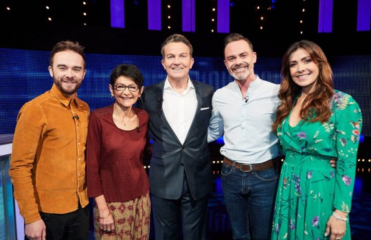 """Editorial use only Mandatory Credit: Photo by ITV/REX (10412916g) (L-R)) Jack P Shepherd, Shelley King, host Bradley Walsh, Daniel Brocklebank and Kym Marsh 'The Chase Celebrity Special' TV Show, Episode 2, UK - 21 Sep 2019 The Chase Celebrity Special, is a British ITV quiz show hosted by Bradley Walsh in which contestants play against a professional quizzer, the """"chaser"""", who attempts to prevent them winning the cash prize. In this special Coronation Street edition Shelley King, Daniel Brocklebank, Kym Marsh and Jack P Shepherd hope to win thousands of pounds for charity."""