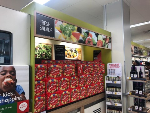 Tesco slammed for filling salad fridge with biscuits