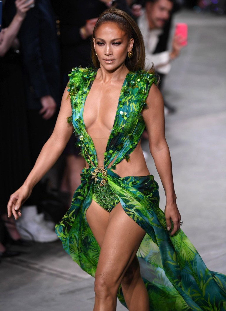 Jennifer Lopez walks Versace runway in that iconic Grammys dress