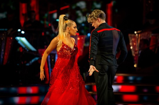 For use in UK, Ireland or Benelux countries only Undated BBC handout photo of AJ Pritchard and Saffron Barker during BBC1 dance contest, Strictly Come Dancing. PA Photo. Issue date: Saturday September 21, 2019. See PA story SHOWBIZ Strictly. Photo credit should read: Guy Levy/BBC/PA Wire NOTE TO EDITORS: Not for use more than 21 days after issue. You may use this picture without charge only for the purpose of publicising or reporting on current BBC programming, personnel or other BBC output or activity within 21 days of issue. Any use after that time MUST be cleared through BBC Picture Publicity. Please credit the image to the BBC and any named photographer or independent programme maker, as described in the caption.