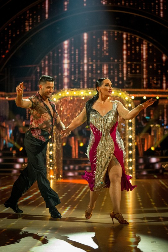 For use in UK, Ireland or Benelux countries only Undated BBC handout photo of Giovanni Pernice and Michelle Visage during BBC1 dance contest, Strictly Come Dancing. PA Photo. Issue date: Saturday September 21, 2019. See PA story SHOWBIZ Strictly. Photo credit should read: Guy Levy/BBC/PA Wire NOTE TO EDITORS: Not for use more than 21 days after issue. You may use this picture without charge only for the purpose of publicising or reporting on current BBC programming, personnel or other BBC output or activity within 21 days of issue. Any use after that time MUST be cleared through BBC Picture Publicity. Please credit the image to the BBC and any named photographer or independent programme maker, as described in the caption.