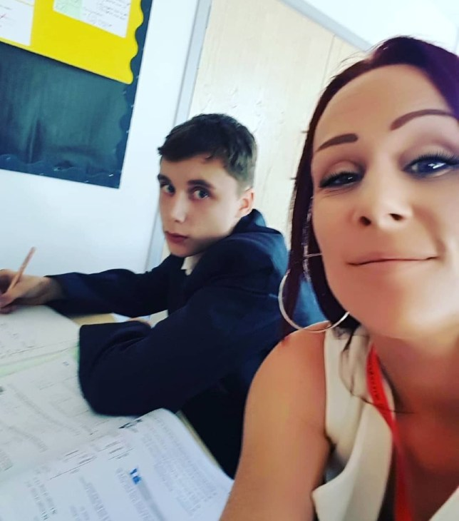 Mum sits next to son during maths class to teach him a lesson about behaviour