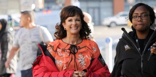 Cutting It and Emmerdale actress Sian Reeves has joined Coronation Street, she is pictured on her first day on location with Michael LeVell, Simon Gregson and Joe Duttine. PIC BY MARK CAMPBELL/MCPIX 07778 526193