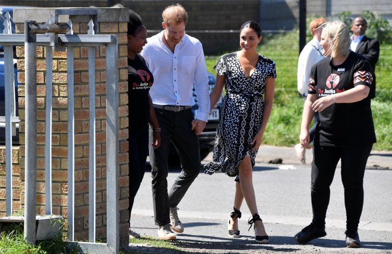 The Duke and Duchess of Sussex, Prince Harry and his wife Meghan, visit Nyanga township, on the first day of their African tour in Cape Town, South Africa, September 23, 2019. REUTERS/Toby Melville