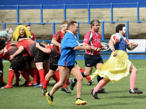 Drag acts swap high heels for trainers as they play rugby for mental health charity