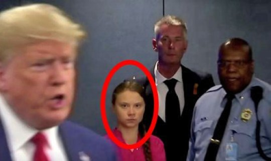 Grab of Greta Thunberg giving Donald Trump a dirty look at UN Climate Change summit in New York