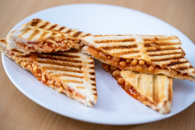 Baked bean and Spaghetti Toasties, called jaffles