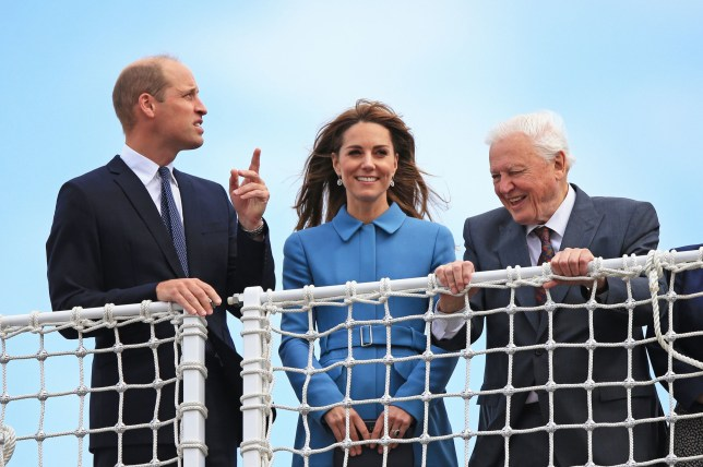 The Duke and Duchess of Cambridge join Sir David Attenborough for the naming ceremony of the polar research ship, which the public voted to call Boaty McBoatface, at the Cammell Laird shipyard in Birkenhead, Merseyside. PA Photo. Picture date: Thursday September 26, 2019. See PA story ROYAL Cambridge . Photo credit should read: Peter Byrne/PA Wire