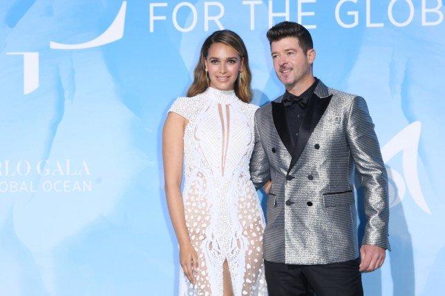 MONTE-CARLO, MONACO - SEPTEMBER 26: April Love Geary and Robin Thicke attend the Gala for the Global Ocean hosted by H.S.H. Prince Albert II of Monaco at Opera of Monte-Carlo on September 26, 2019 in Monte-Carlo, Monaco. (Photo by Daniele Venturelli/Daniele Venturelli/ Getty Images Getty Images for Fondation Prince Albert II)