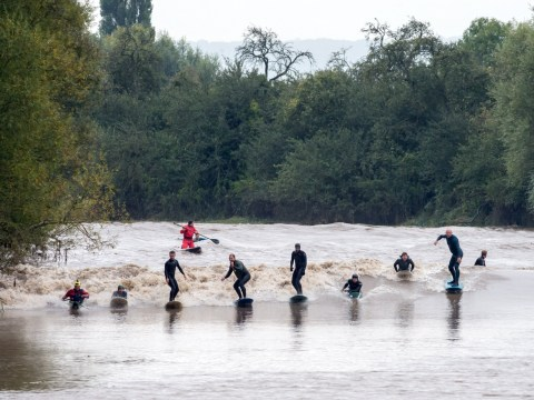 Hundreds watch as surfers ride 10m 'five star' wave at River Severn