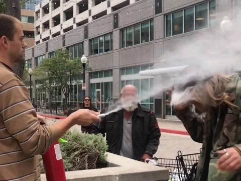 Restaurant owner sprays fire extinguisher at smoker for refusing stub cigarette