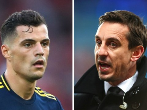 Granit Xhaka responds to Gary Neville's heavy criticism after Arsenal's draw with Tottenham
