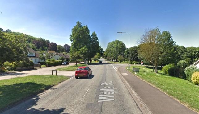 Wells Road, Glastonbury, where the collision happened