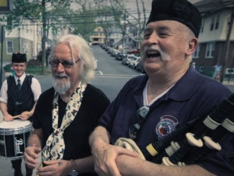 Billy Connolly forced to explain he has Parkinson's in Great American Trail after bagpipe player notices hands shaking