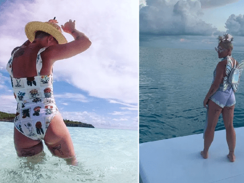Pink is certainly living it up on holiday as she 'shakes what her mama gave her'