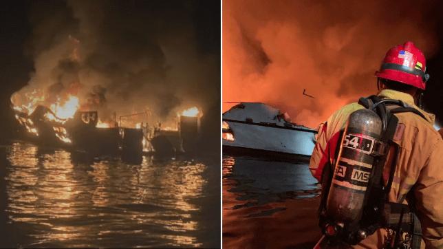 Boat fire off california coast