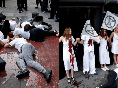 Blood-soaked Extinction Rebellion members stage 'die-in' at London Fashion Week