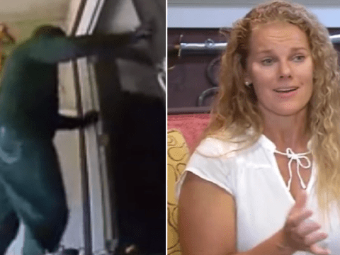 Incredible moment screaming mother scares off masked burglars who broke into her house