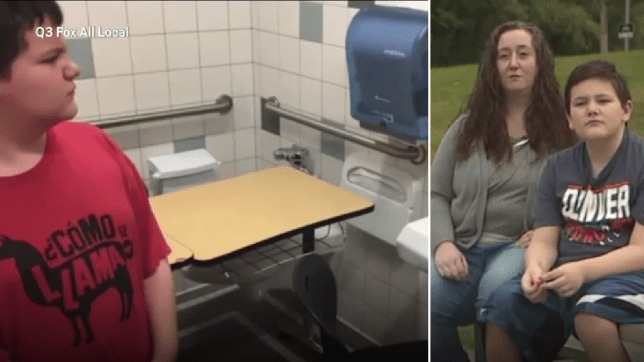 Photo of Lucas Goodwin looking upset by his new toilet desk, next to photo of Lucas and his mother Danielle
