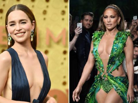 Emilia Clarke looks seriously fierce as she channels her inner Jennifer Lopez for the 2019 Emmy Awards