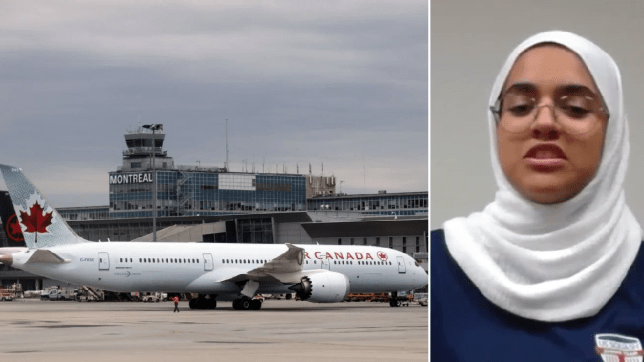 File photo of Air Canada plane next to photo of Fatima Abdelrahman