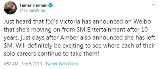 f(x) singer Victoria quits SM Entertainment four days after