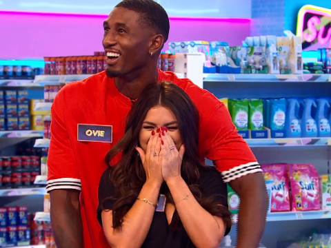 Love Island's Ovie Soko and India Reynolds told off for being 'intimate' on Supermarket Sweep