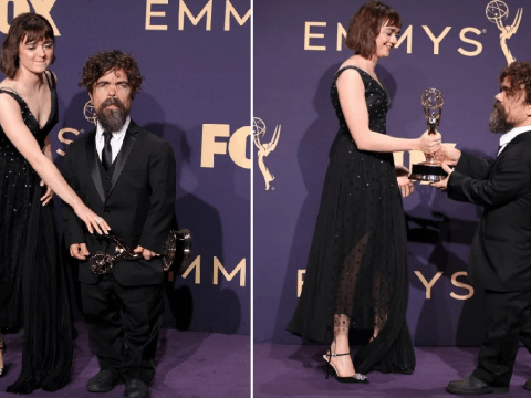 Maisie Williams tries to pinch Emmy Award from Peter Dinklage on red carpet after Game of Thrones wins big
