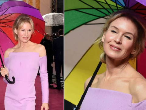 Renee Zellweger refuses to let the rain dampen her mood with rainbow umbrella at Judy premiere in London