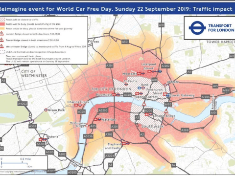 Which roads in London are closed for Car Free Day and how long are they closed for?