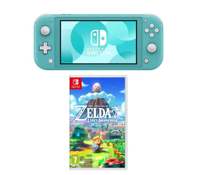 Switch Lite console and Link's Awakening game